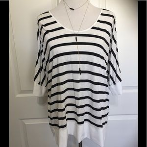 NWOT: Black & white striped blouse